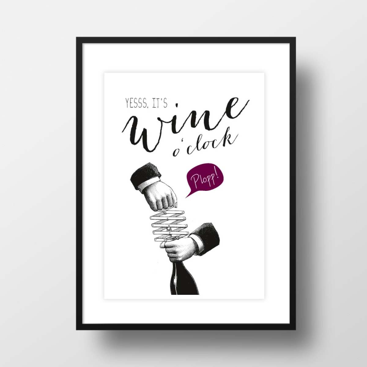 "A4 Artprint ""Wine o'clock"""