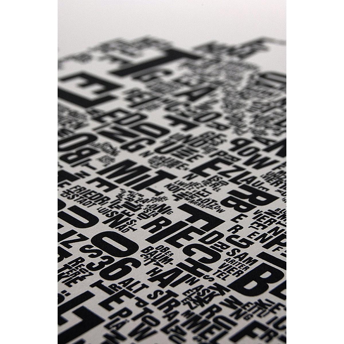 Buchstabenort Berlin Stadtteile-Poster Typografie
