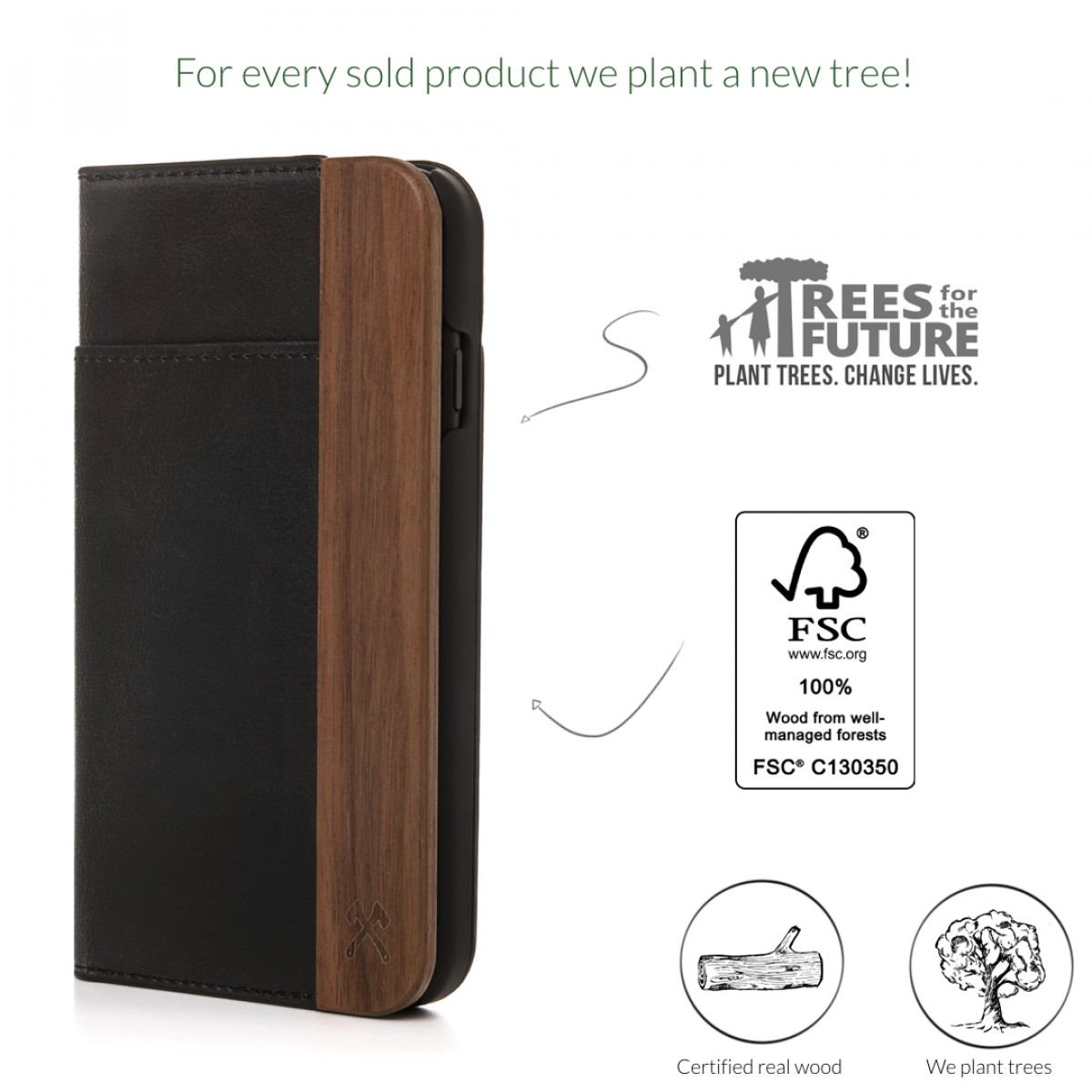 Woodcessories - EcoWallet - Premium Design Hülle, Case, Cover für das iPhone aus FSC zert. Walnuss Holz & veganem Leder (iPhone 7 Plus/ 8 Plus)