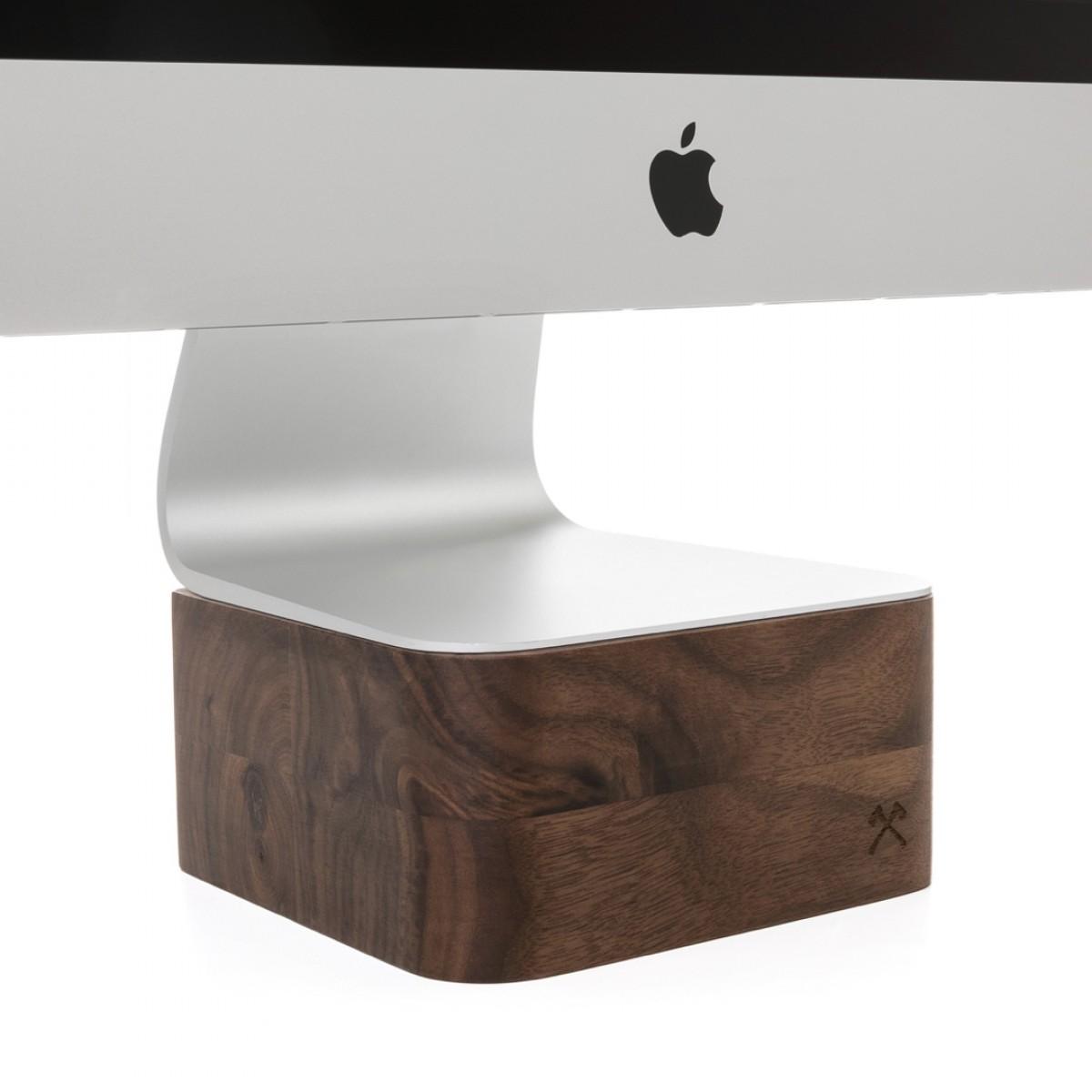 """Woodcessories - EcoFoot iMac Stand - Premium Design Monitorständer, Bildschirmständer, Erhöhung für den Apple iMac aus massivem Holz (27"""", Walnuss)"""