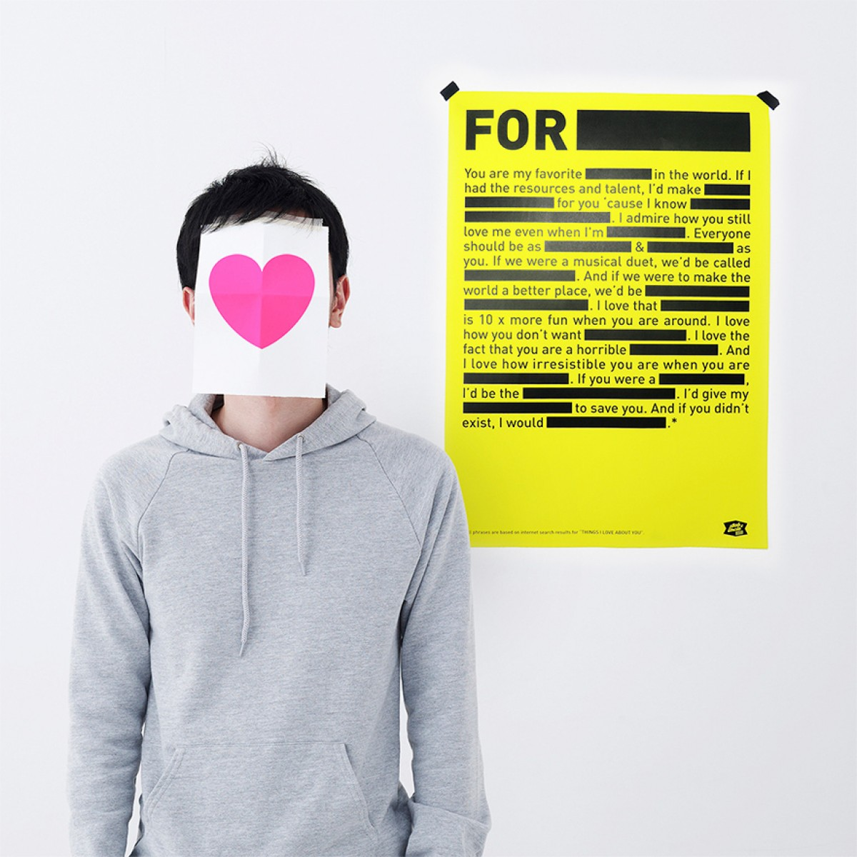 Bob And Uncle Design LOVE NOTE Poster (420 x 594 mm, neongelb)
