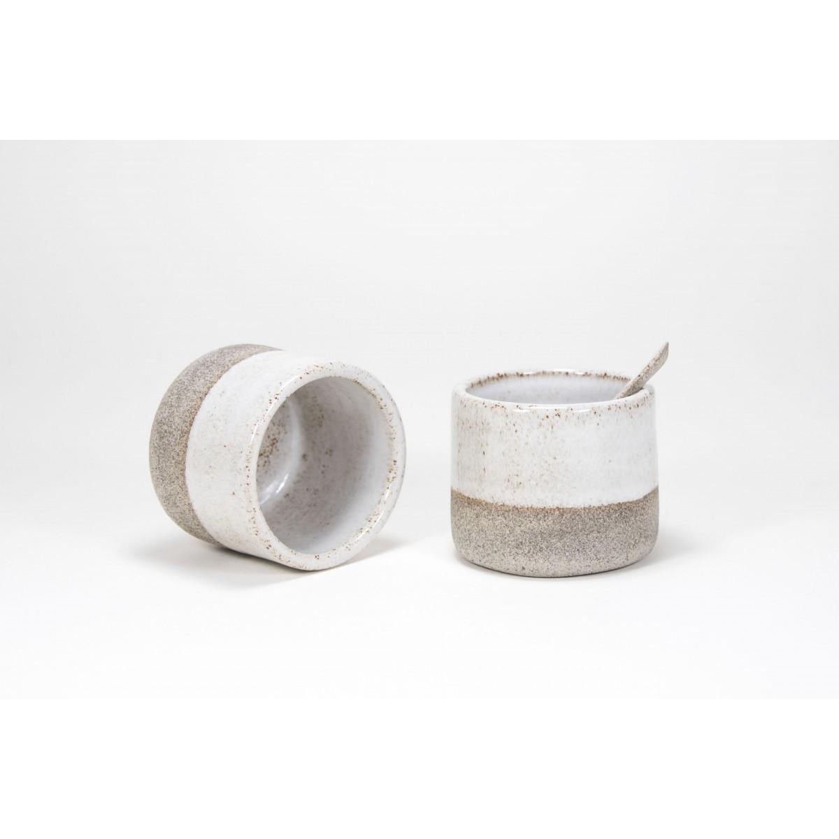 BET - handgemachter Espressobecher oder Gefäß aus Keramik betongrau/weiß - Anita Riesch