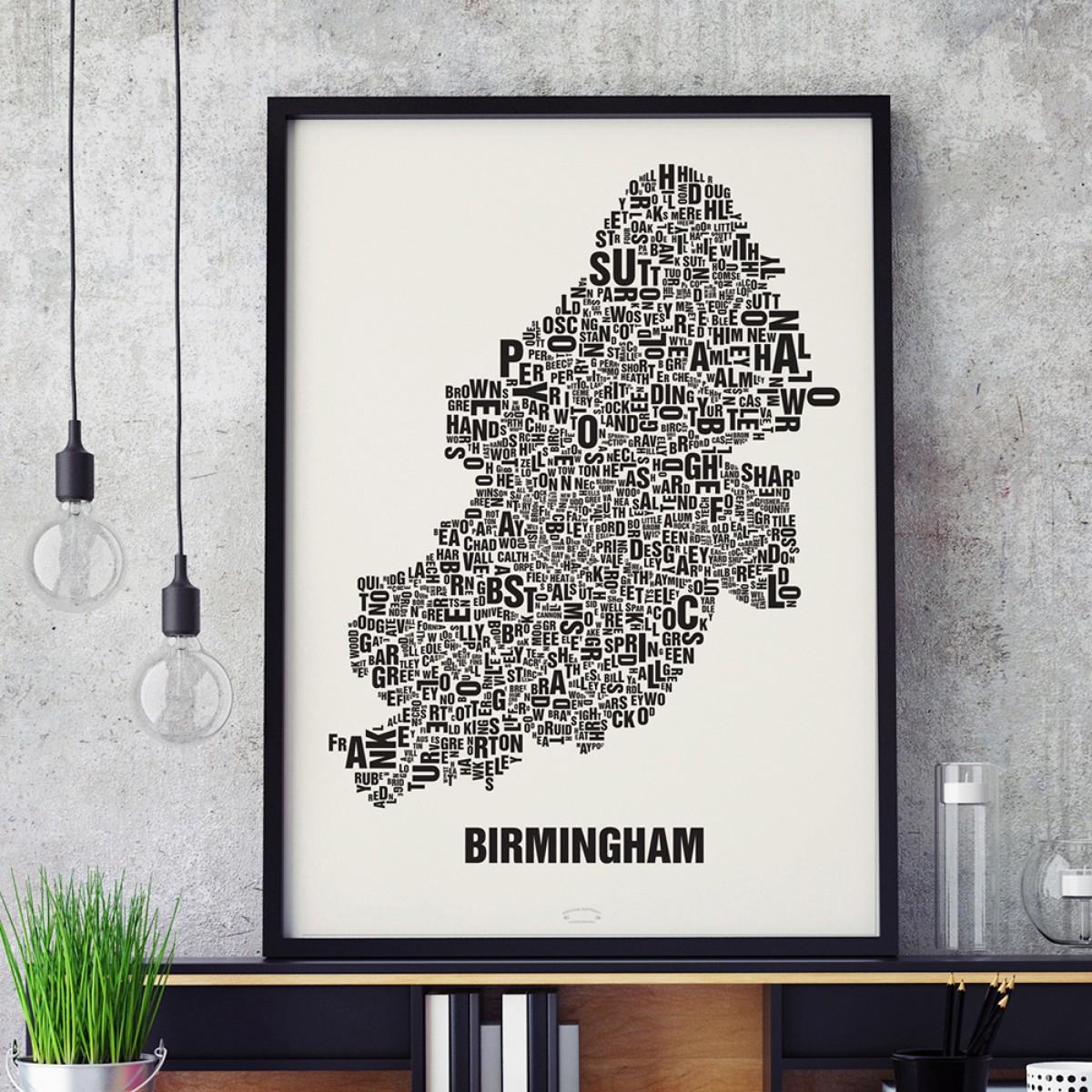 Buchstabenort Birmingham Stadtteile-Poster Typografie Siebdruck