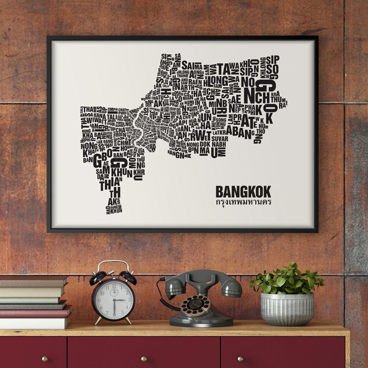 Buchstabenort Bangkok Stadtteile-Poster Typografie Siebdruck