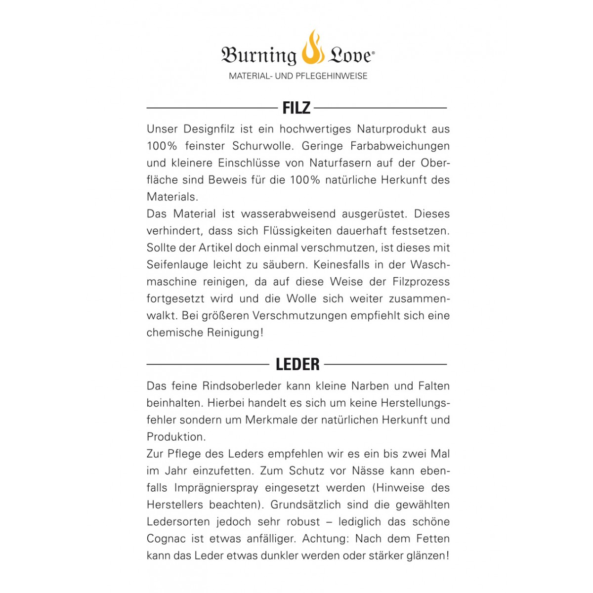 Hülle für iPhone 7 / iPhone 8 - classic/cognac (Filz und Leder) - Burning Love