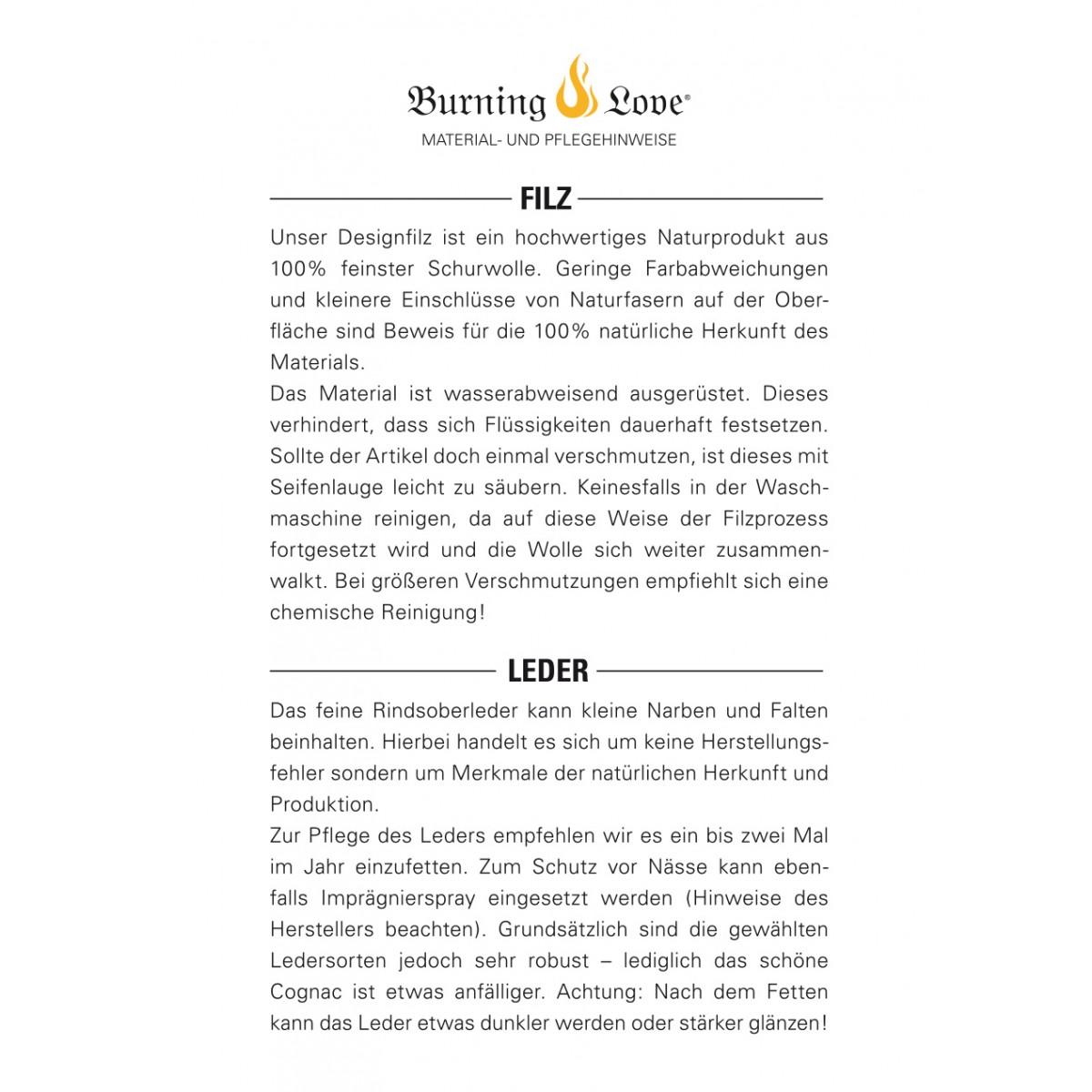 Hülle für iPhone X - classic/cognac (Filz und Leder) - Burning Love