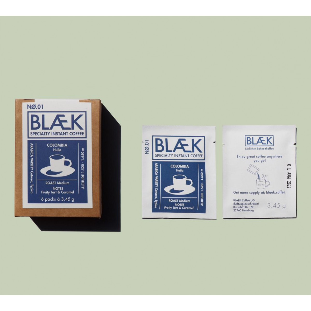 BLÆK - Specialty Instant Coffee NØ.1 (1 Box mit 6 Sachets)