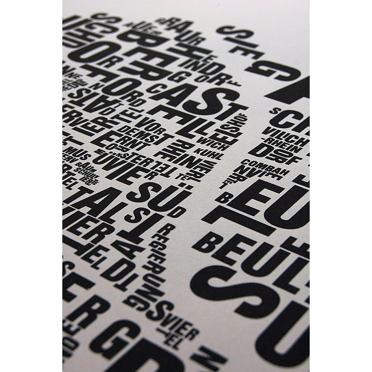 Buchstabenort Bonn Stadtteile-Poster Typografie