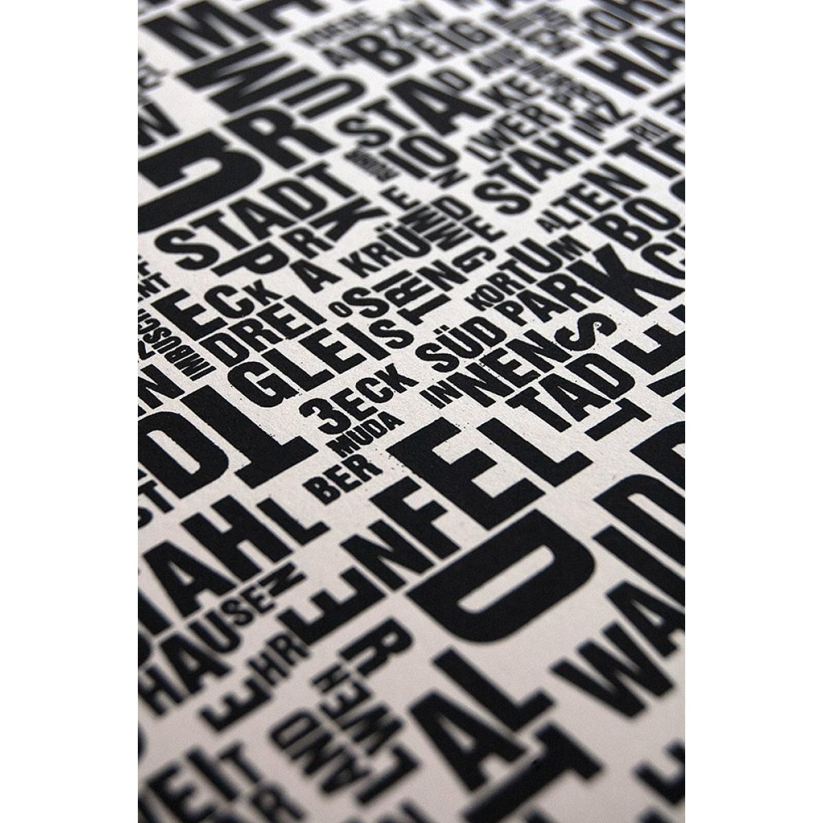 Buchstabenort Bochum Stadtteile-Poster Typografie