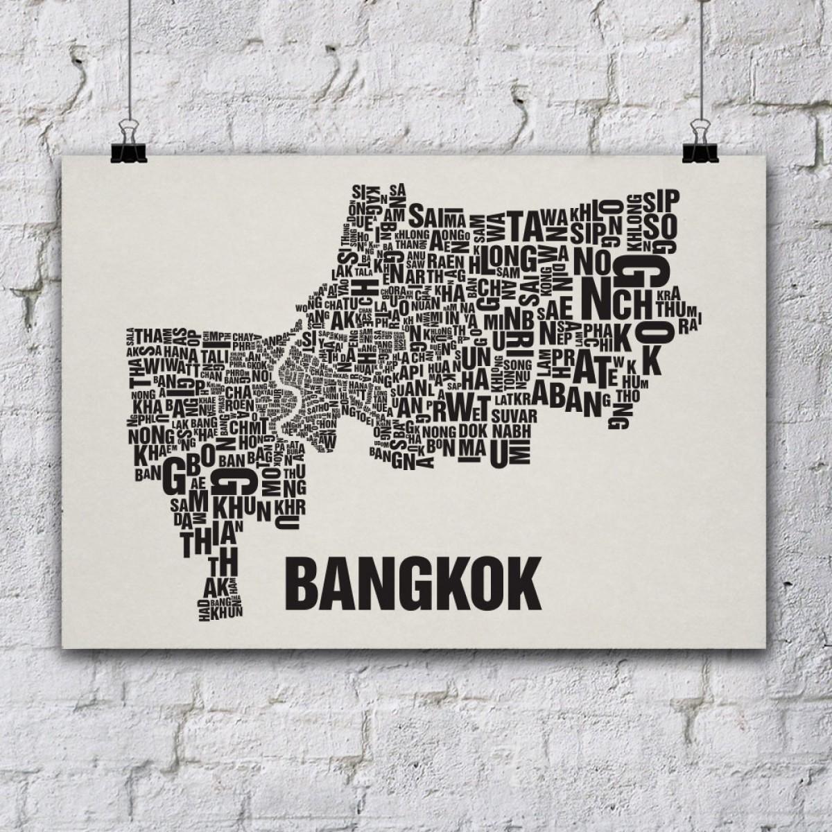 Buchstabenort Bangkok Stadtteile-Poster Typografie