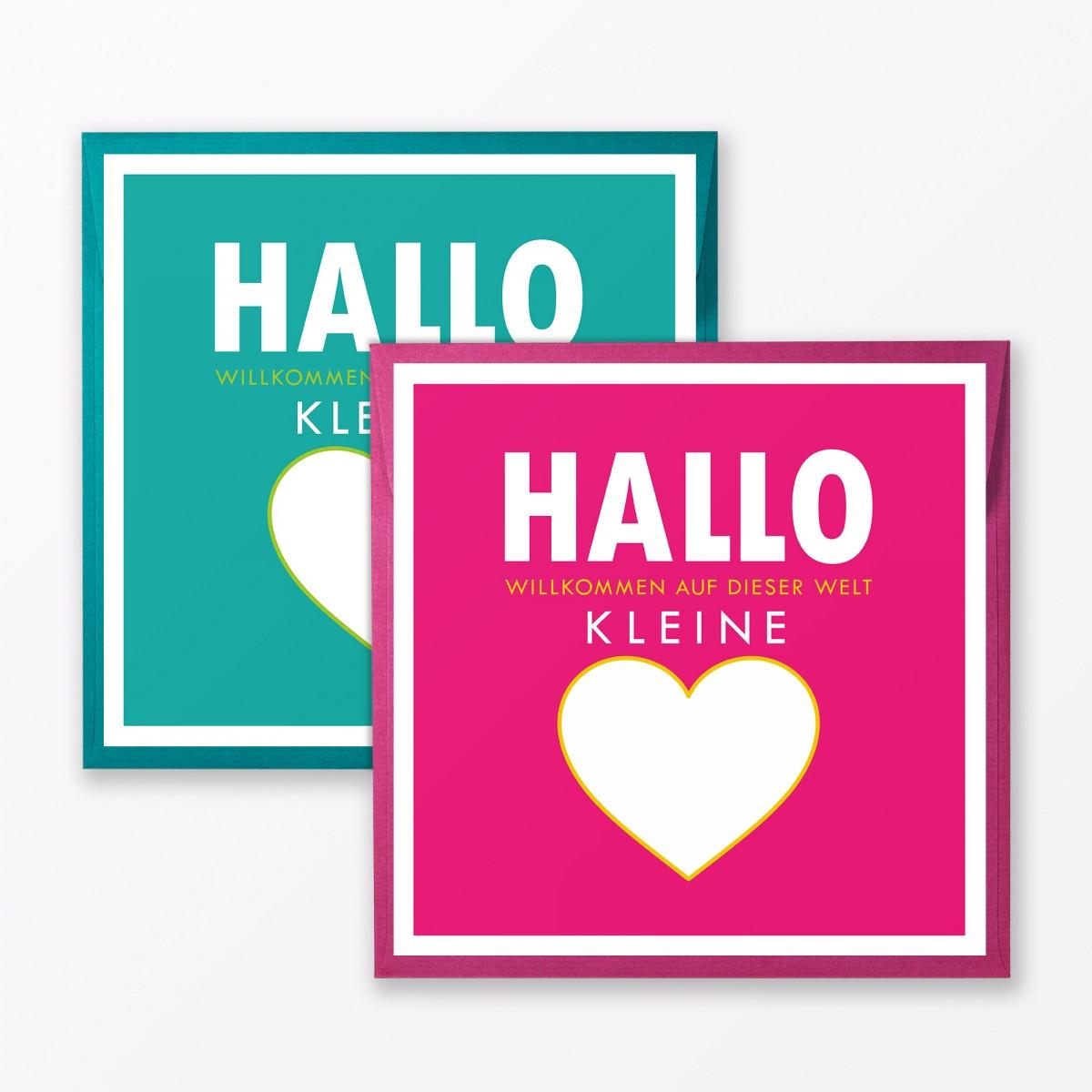"""TYPOP 2-teiliges Set Babykarte """"Willkommen auf dieser Welt"""" Türkis + Pink quadratisch inkl. Umschläge"""