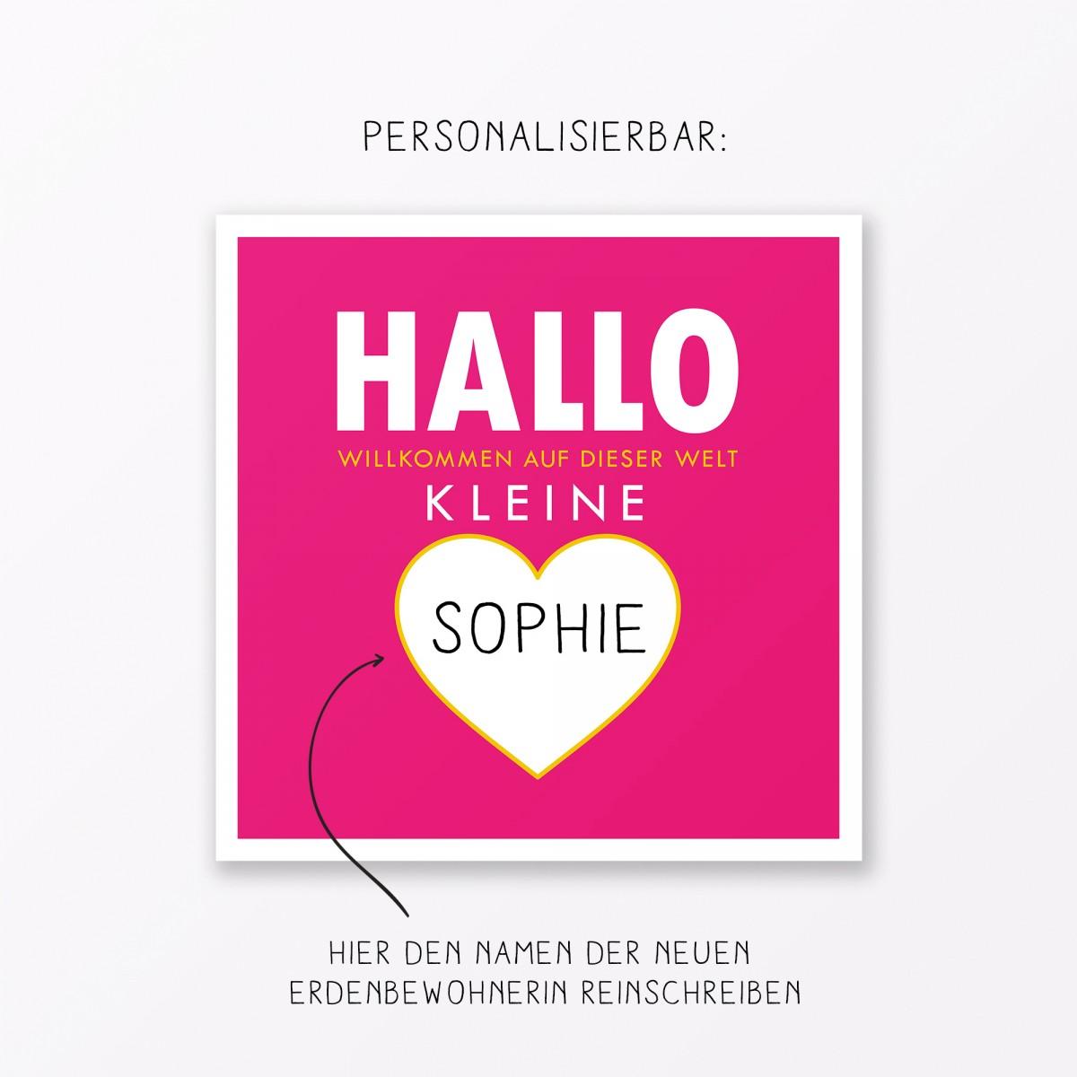 """TYPOP 4-teiliges Set Design BABYKARTE """"Willkommen auf dieser Welt"""" Türkis + Pink quadratisch inkl. Umschlag"""