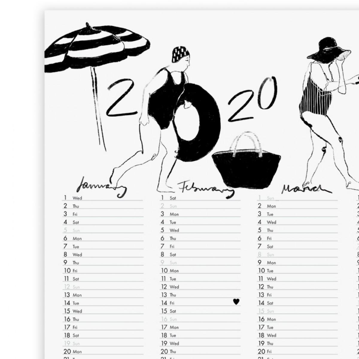 BADENDE FRAUEN - 2020 POSTERKALENDER