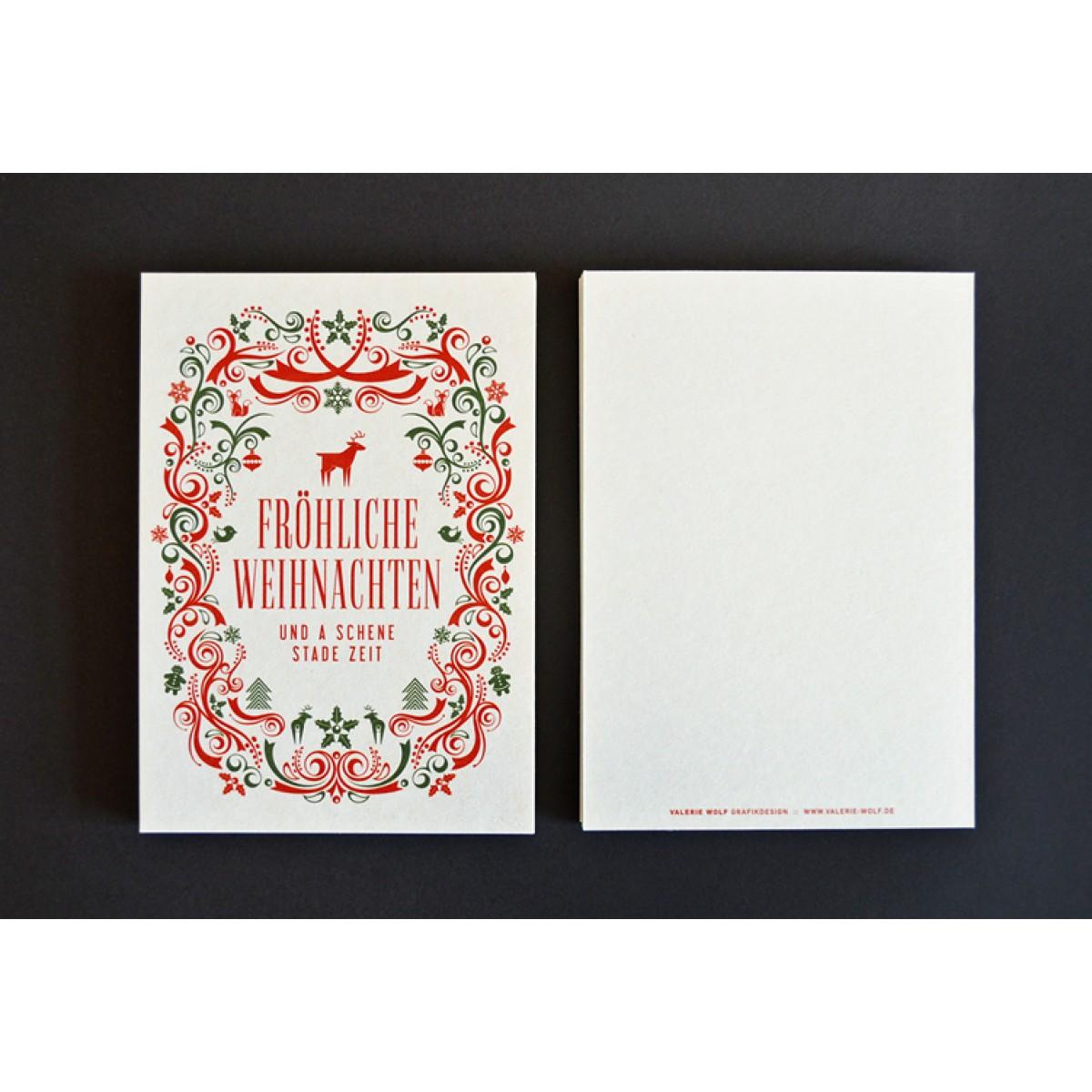Bayerische Weihnachtsgrüße auf Bierdeckel-Karton gedruckt