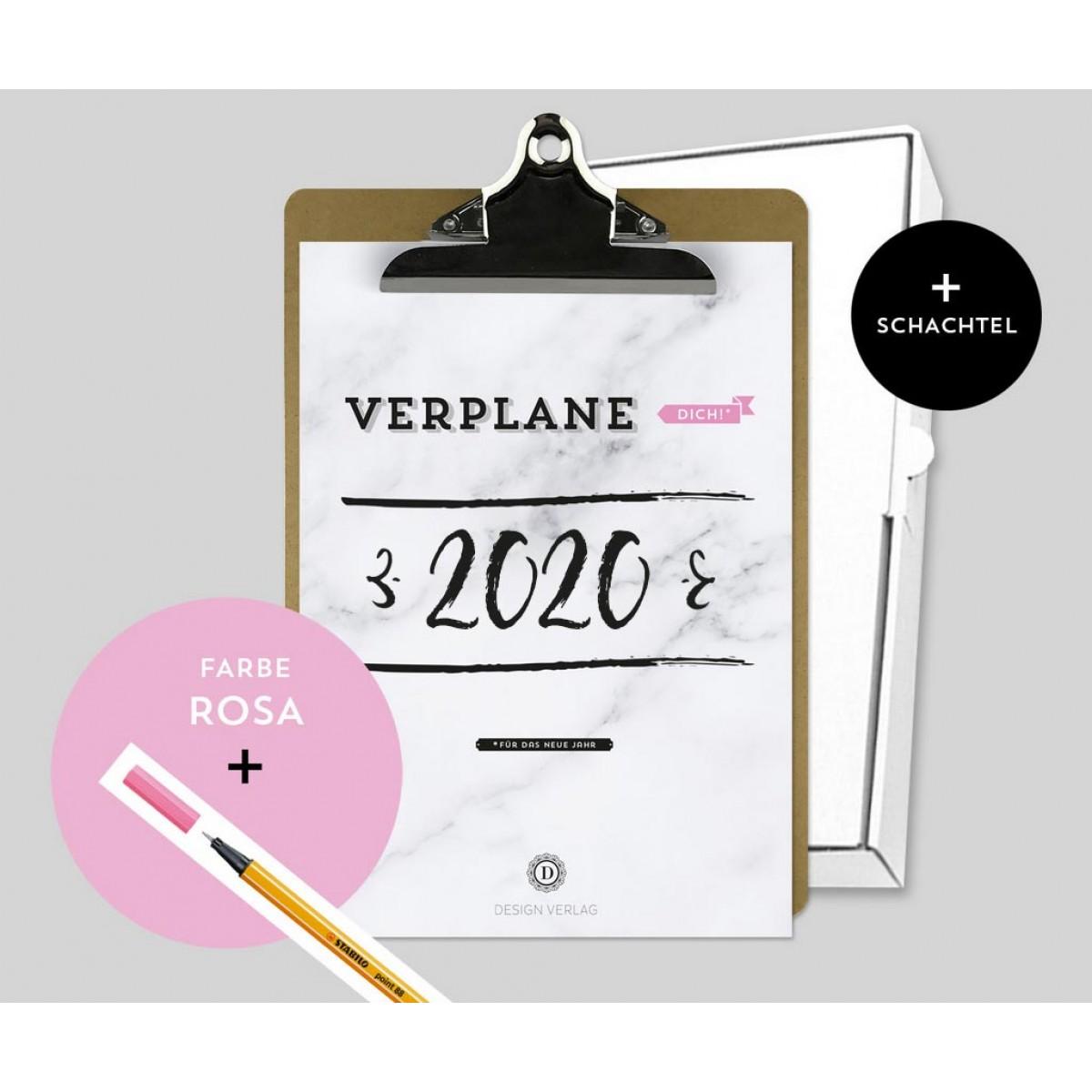 Design Verlag – Jahresplaner 2020 mit Klemmbrett | Farbe: Rosa