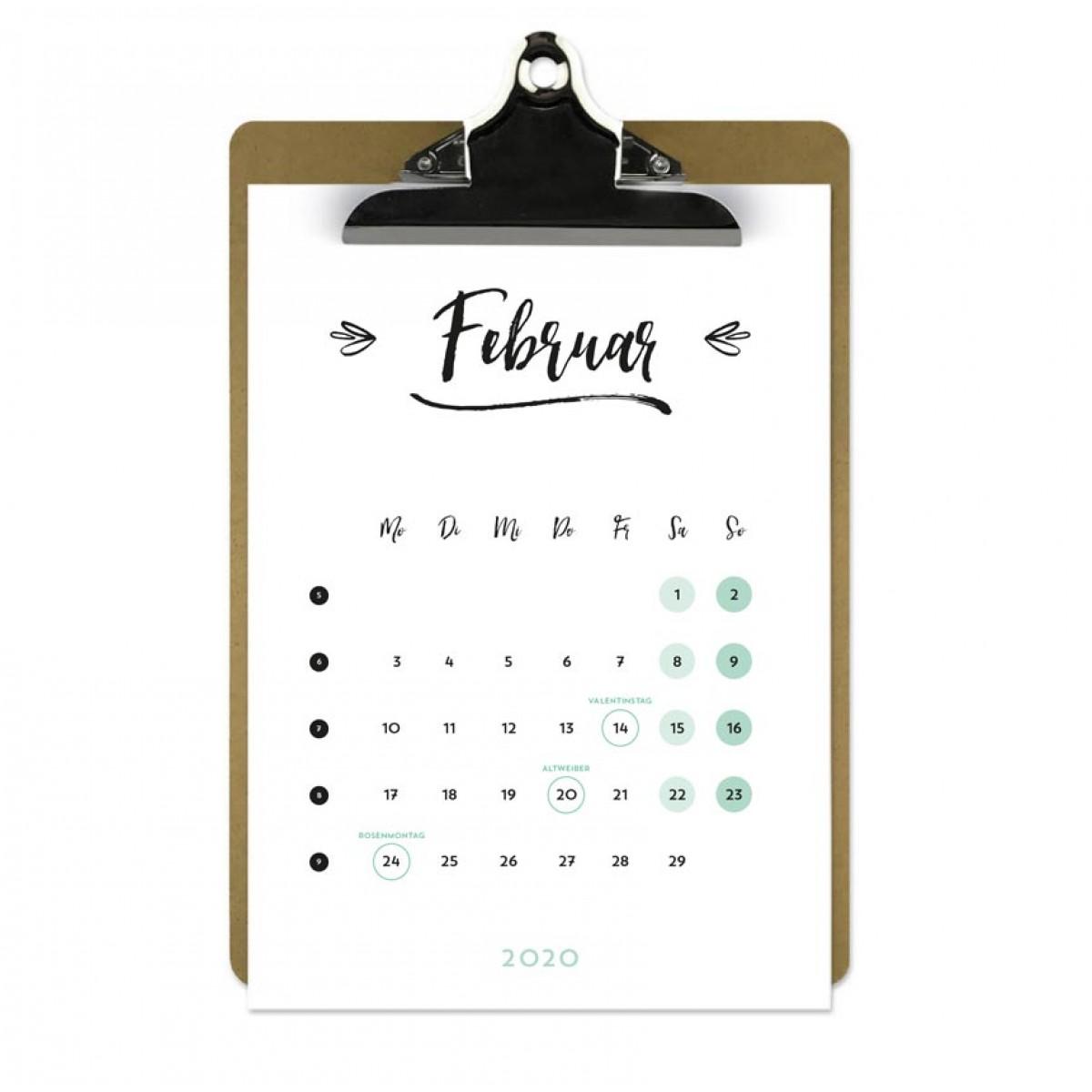 Jahresplaner 2020 mit Klemmbrett | Farbe: Rosa