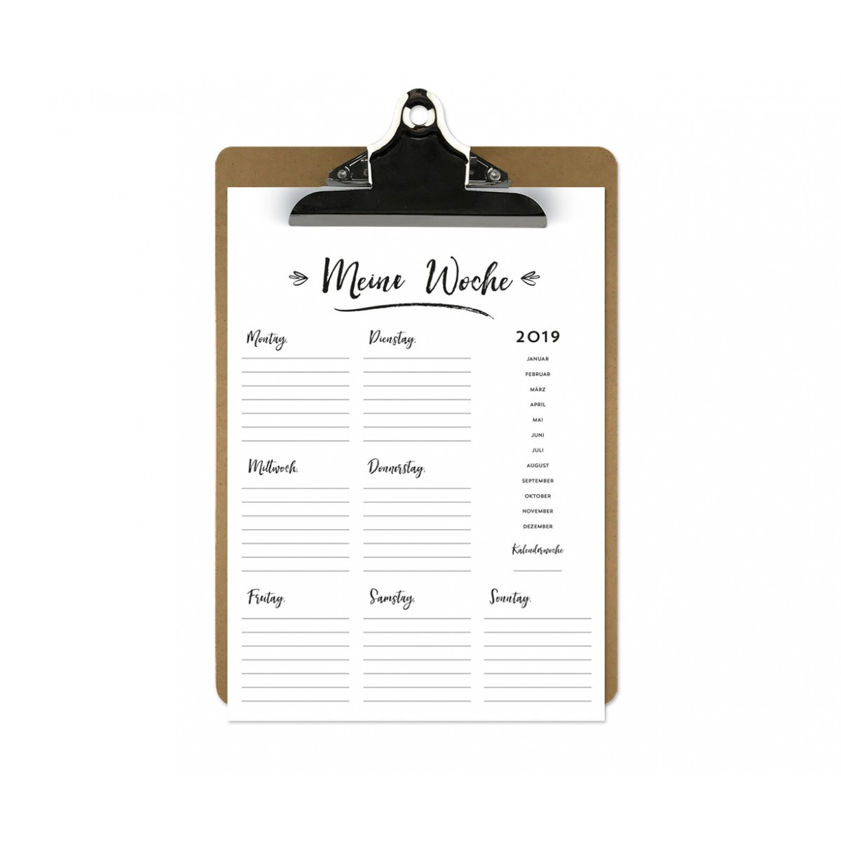 Handlettering Wochenplaner Kalender Klemmbrett / Mint