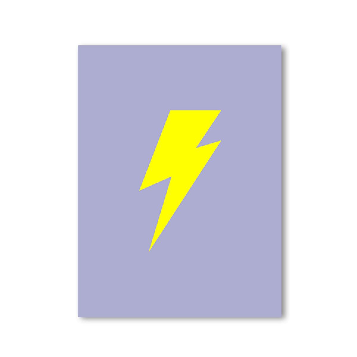 """ZEITLOOPS """"Blitz, flieder/gelb, Fineartprint 45x60cm"""