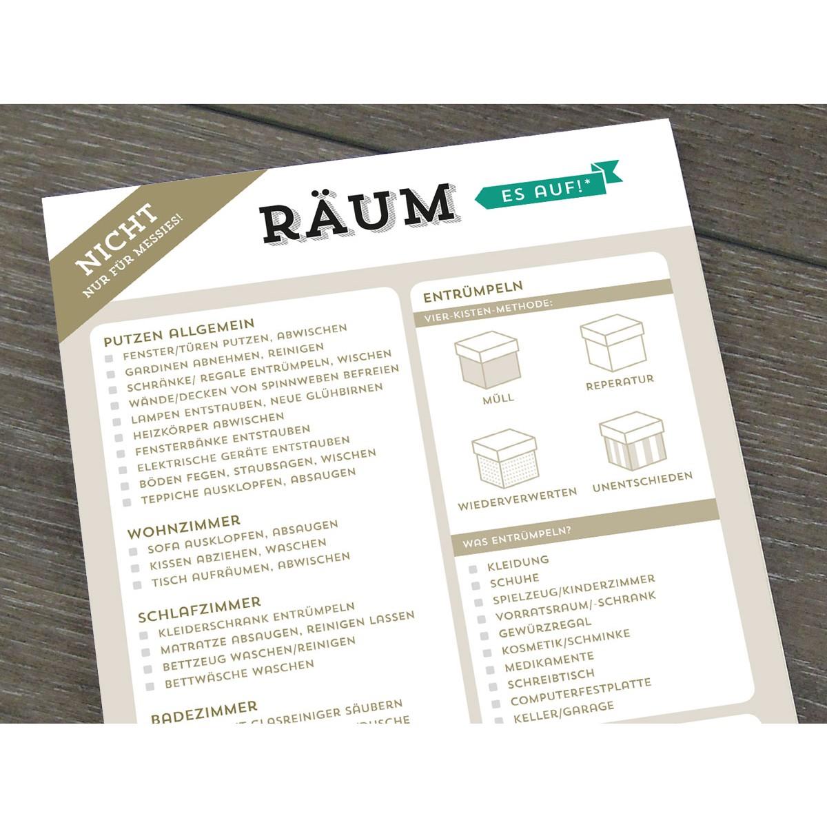 Design Verlag Notizblock - Räum es auf! (3er Set)