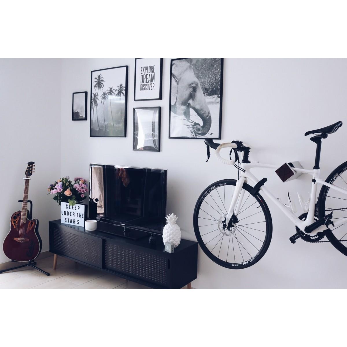 Stilvolle Design Fahrrad Wandhalterung | PARAX® D-RACK | für Rennrad, Hardtail, Cityrad & Tourenrad | Silber - Schwarz mit Kebony Holz