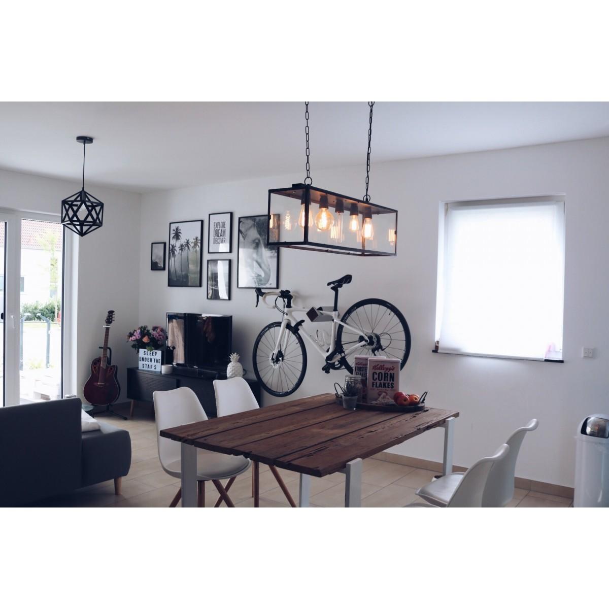 Stilvolle Design Fahrrad Wandhalterung | PARAX® D-RACK | für Rennrad, Hardtail, Cityrad & Tourenrad | Silber - Rot mit Kebony Holz