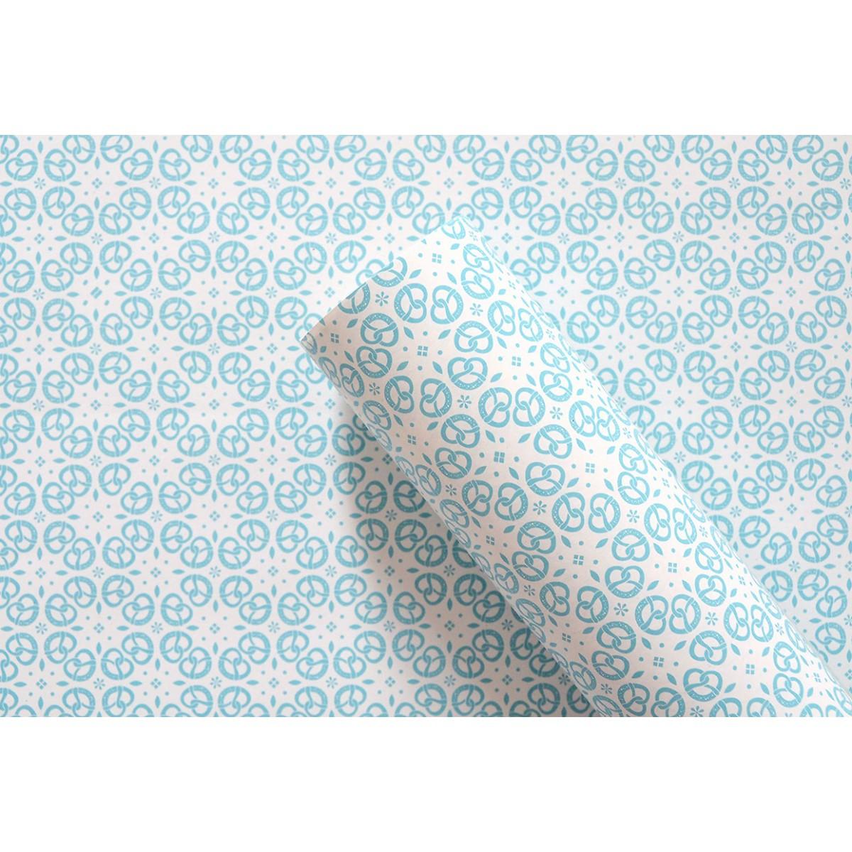 Geschenkpapier BREZEN Ornament blau // 3 Bögen