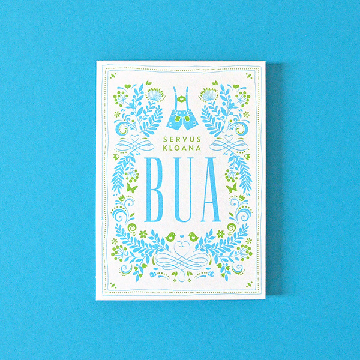 BUA weiß-blau // Bierdeckel-Karte inkl. Naturpapierkuvert