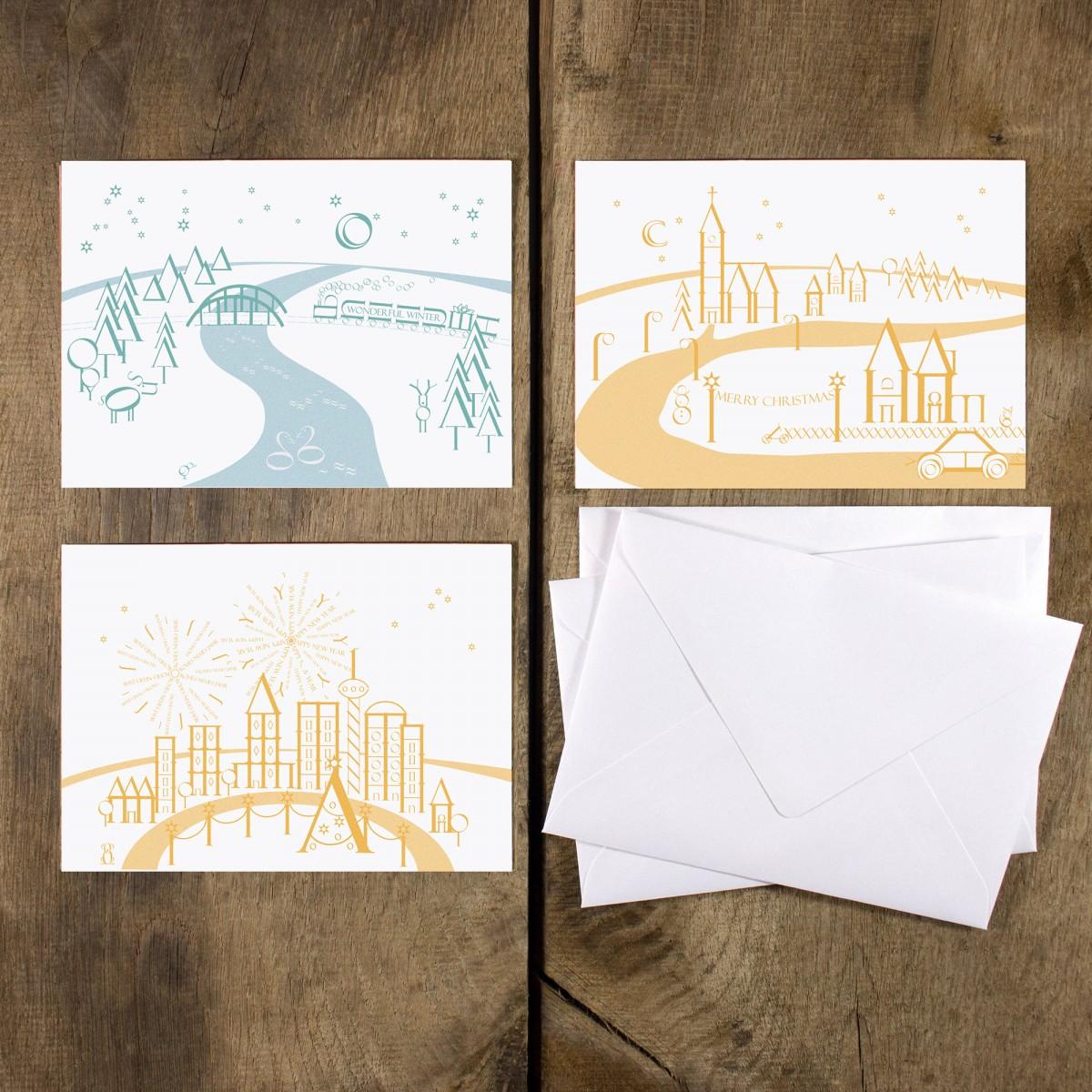 Bow & Hummingbird Grußkarten Buchstaben-Winterlandschaften