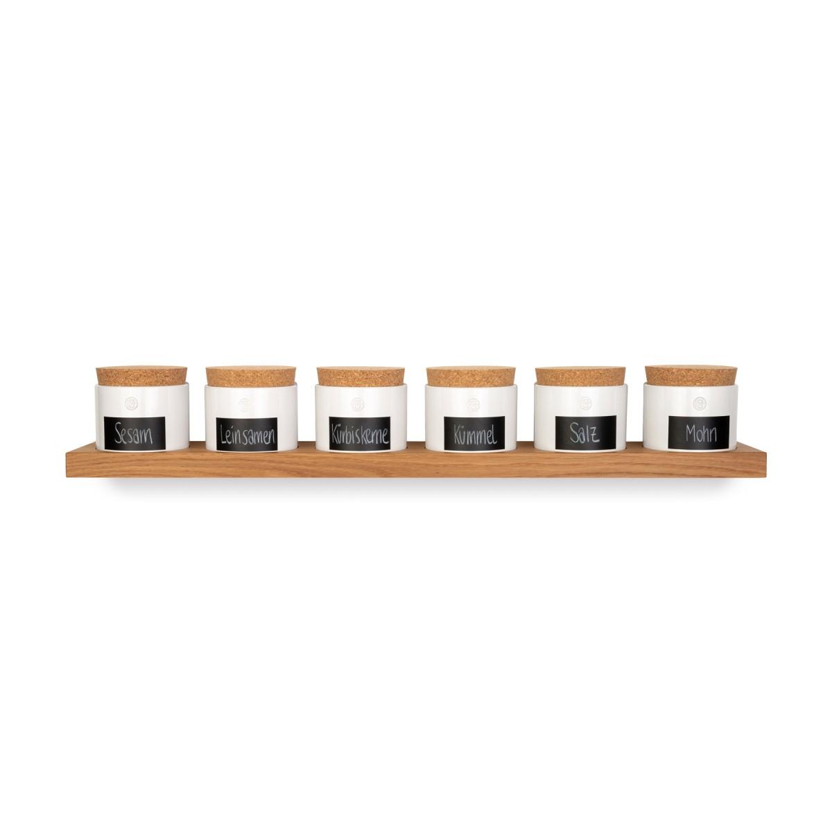 klotzaufklotz Vorratsdosenregal Eiche 6er mit kleinen Dosen