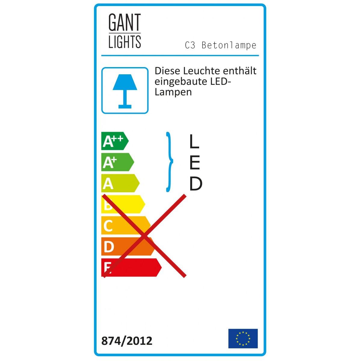 GANTlights - Beton Hängeleuchte [C3]stainless steel Lampe Edelstahl minimalistisch