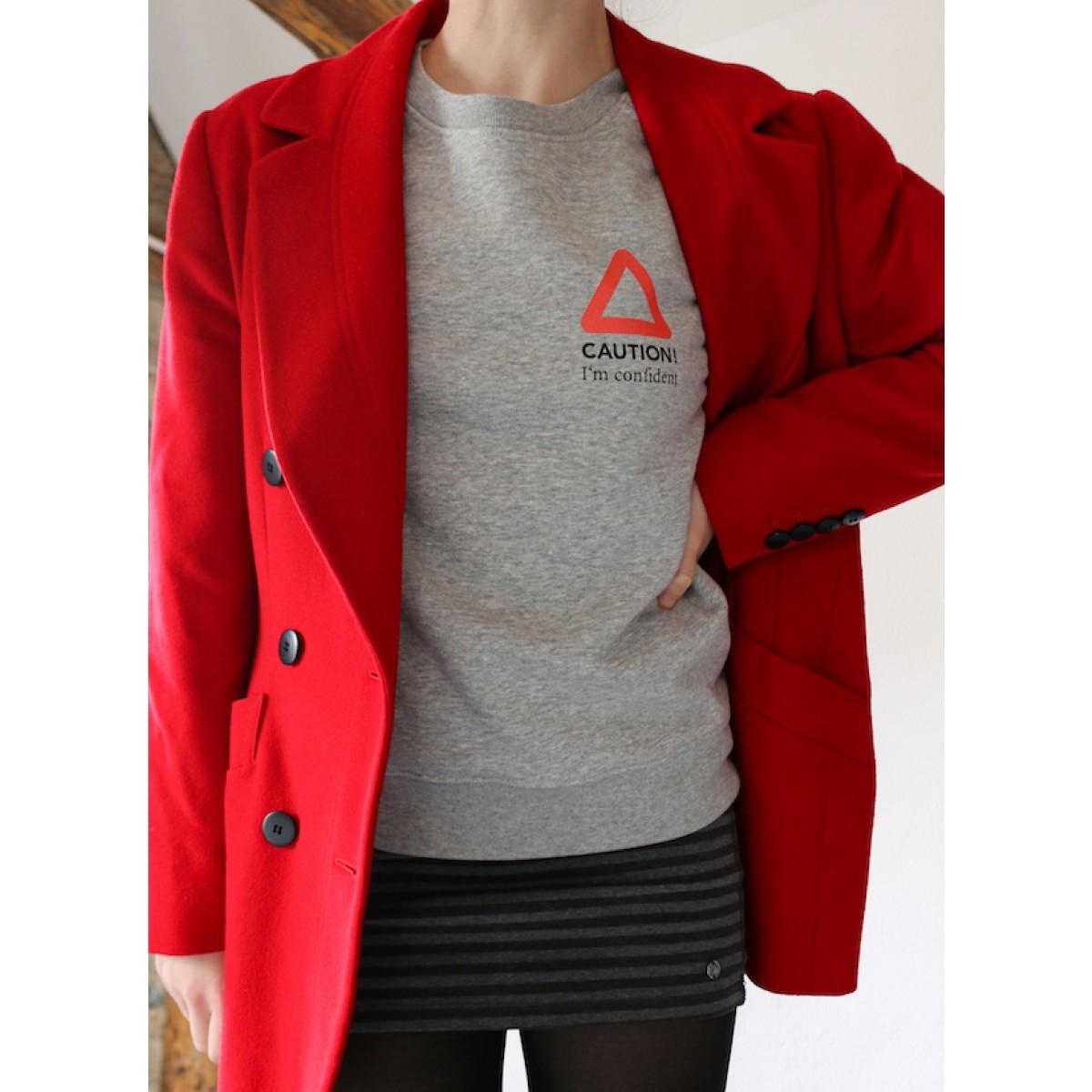 """""""CAUTION - I'm confident"""" - nachhaltiger Sweater in grau-meliert"""