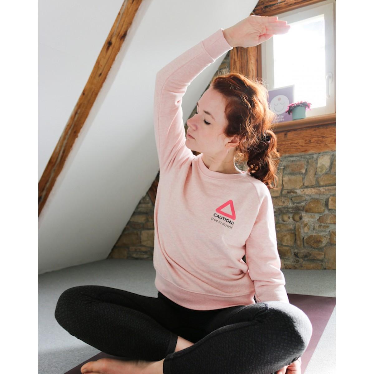 """""""CAUTION - true to myself"""" - nachhaltiger Sweater in rosa-meliert"""
