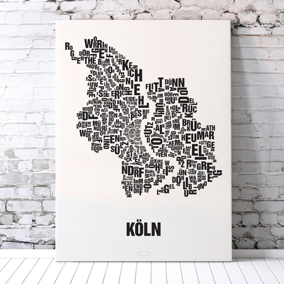 Buchstabenort Köln Poster Typographie Siebdruck