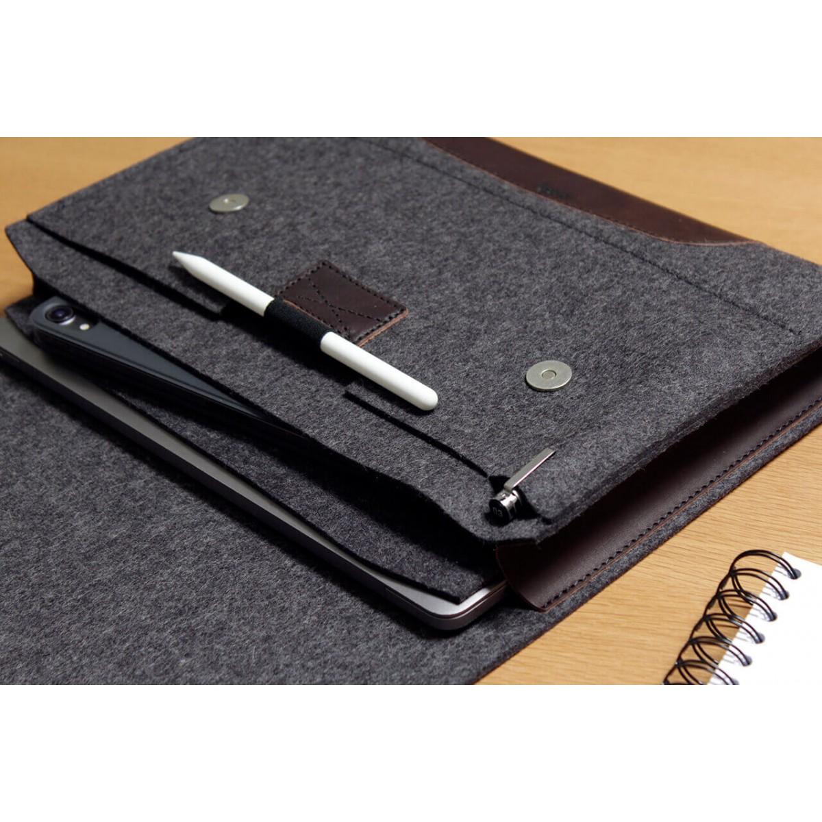 """Laptoptasche, iPad Pro, MacBook Pro Folio Case """"Corriedale"""" 100% Merino Wollfilz, Pflanzlich gegerbtes Leder"""