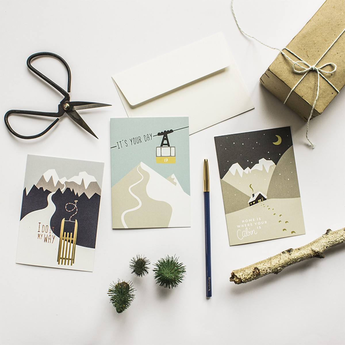 Roadtyping Set Berg-Winter | 3x Klappkarte A6 inkl. Kuverts