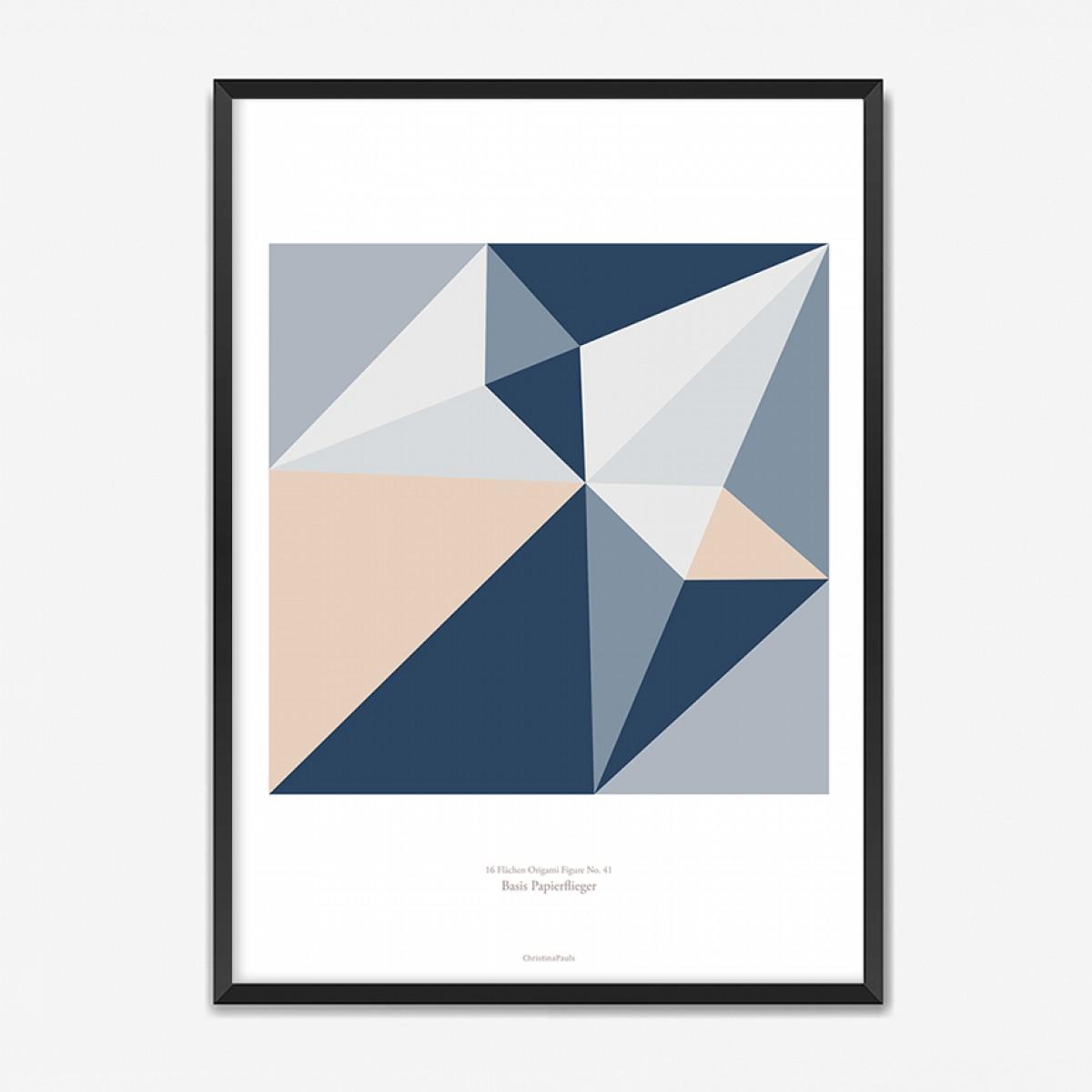 Origami Poster Papierdüsenflieger, mehrfarbig