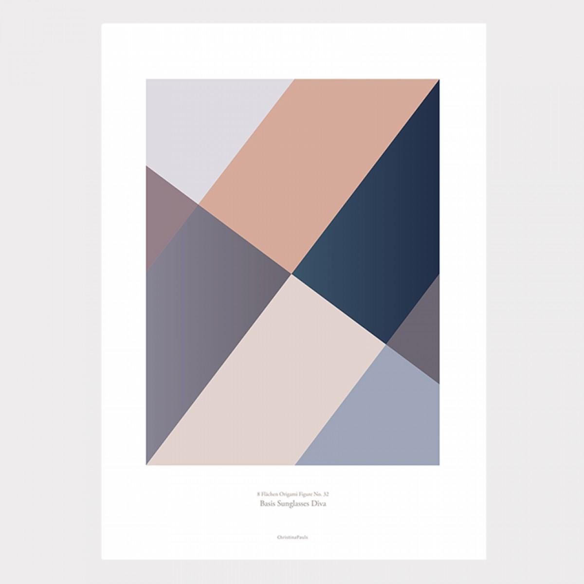 Origami Poster Sunglasses Diva, Blau/Rosa
