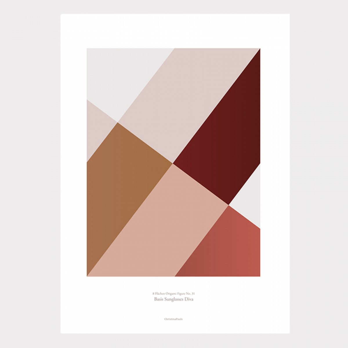 Origami Poster Sunglasses Diva, Rot, von Christina Pauls