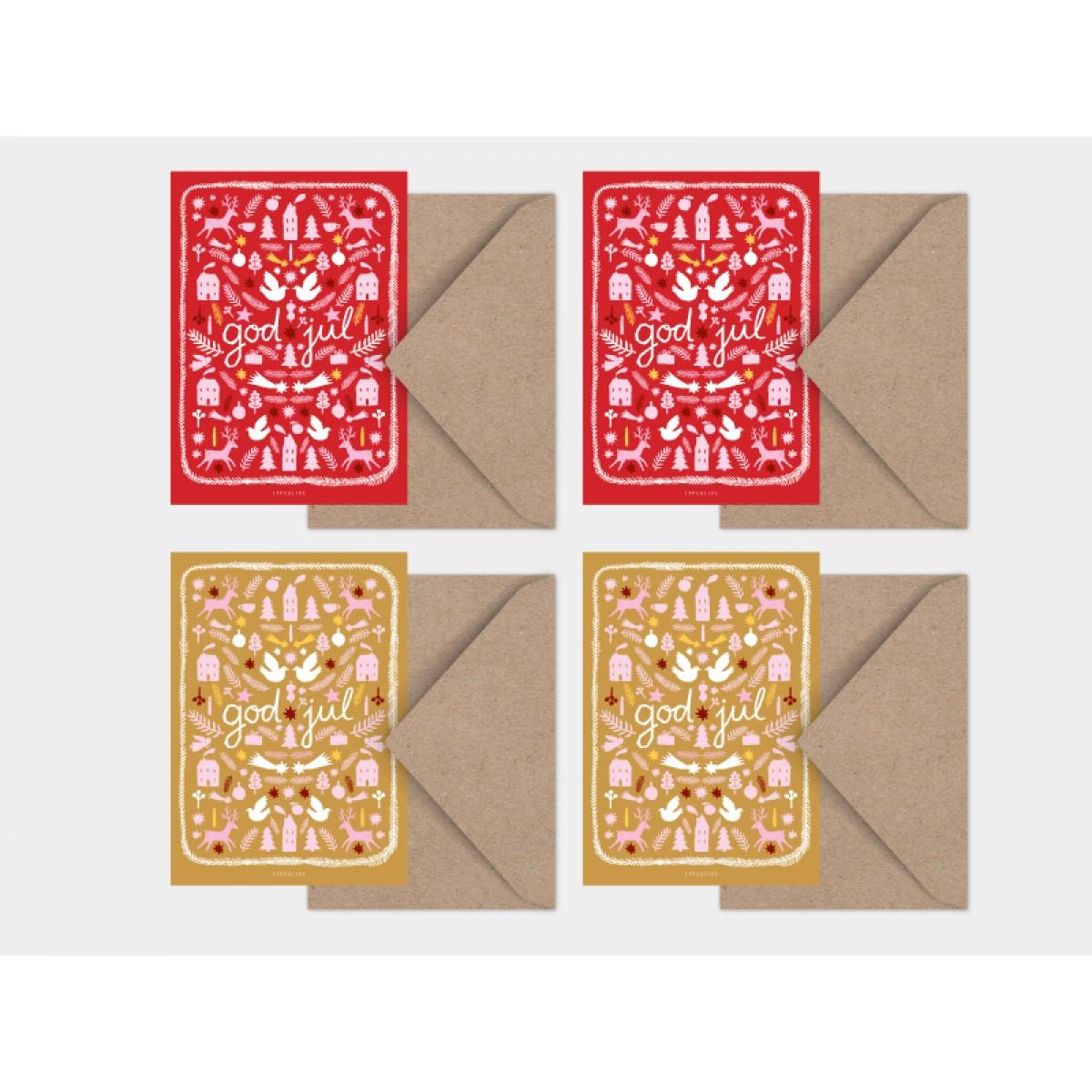 typealive / Weihnachtskarten 4er Set / Christmas in Sweden No.2