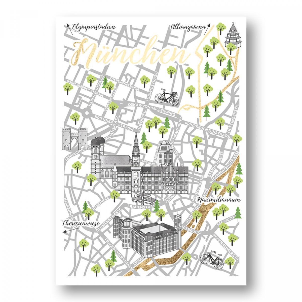 mo.konzept | Stadtkarte Straßenkarte Postkarte München mit Goldfolie | 4er-Set