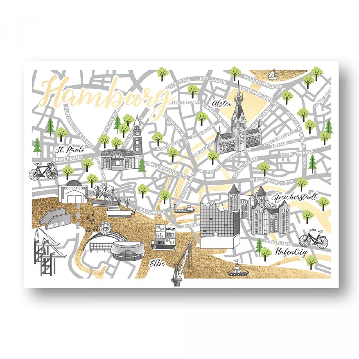 Martina Olonschek | Stadtkarte Straßenkarte Postkarte Hamburg mit Goldfolie | 4er-Set