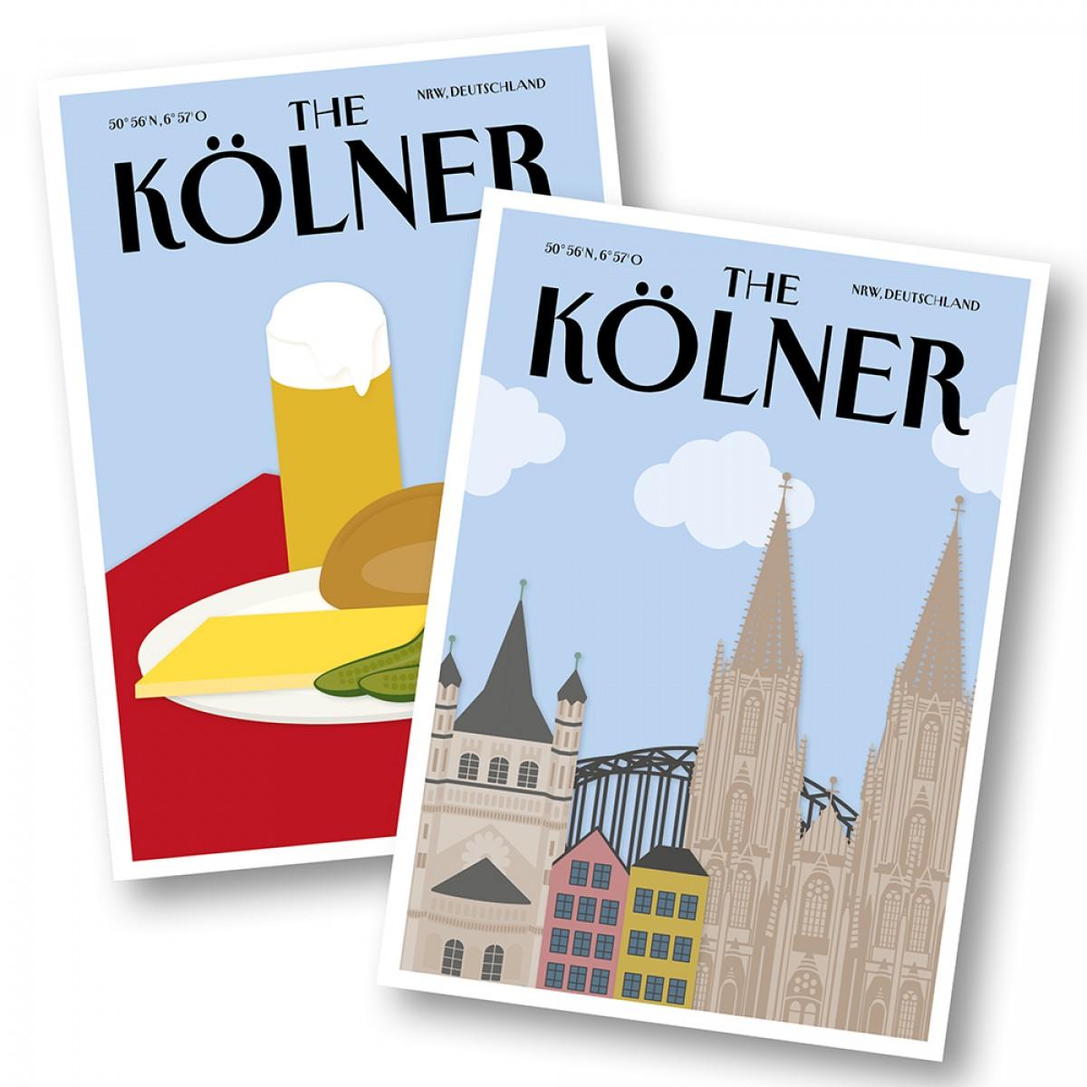 Martina Olonschek | Postkarten The Kölner Halver Hahn und Skyline | 2er-Set