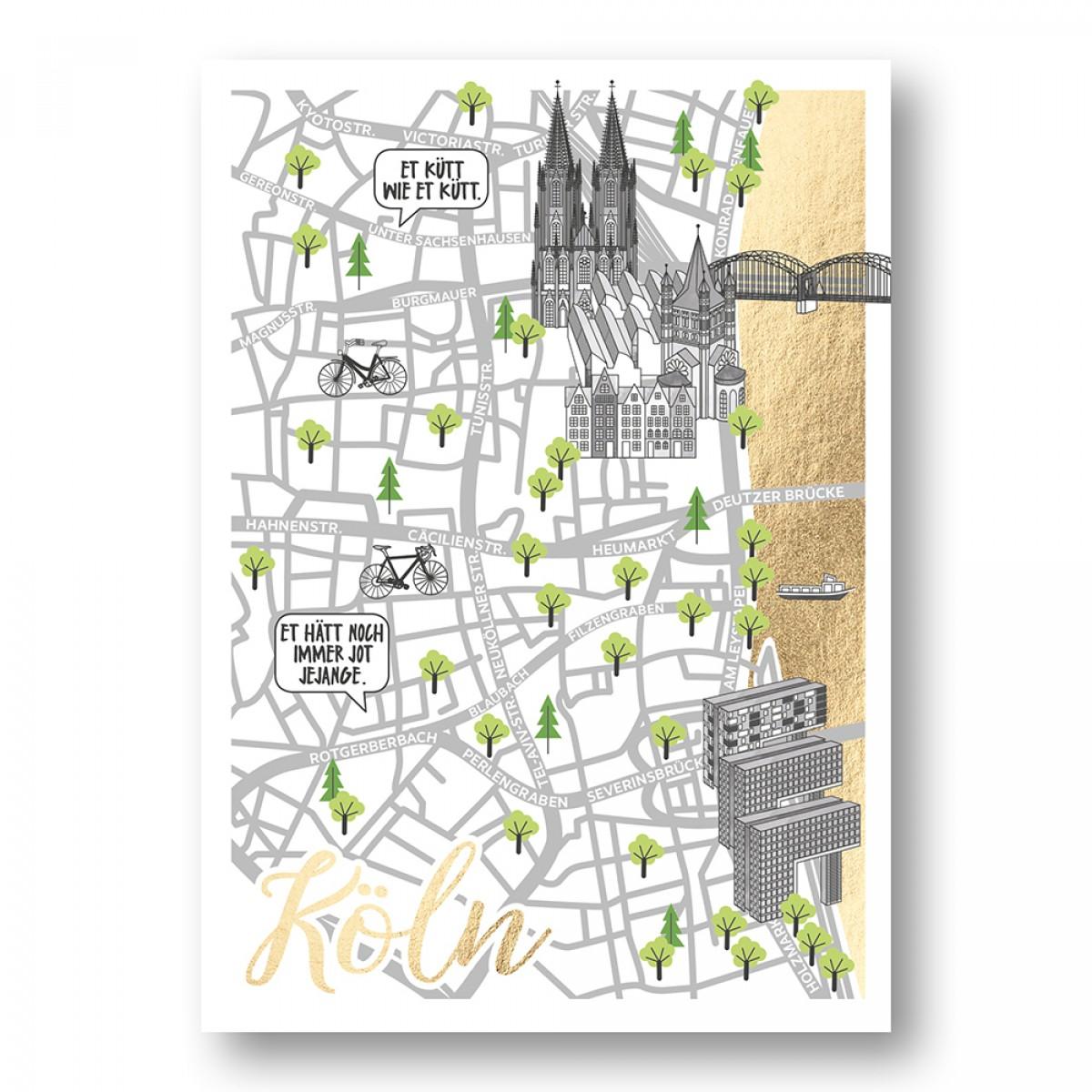 Rapü Design | Stadtkarte Straßenkarte Postkarte Köln mit Goldfolie | 4er-Set