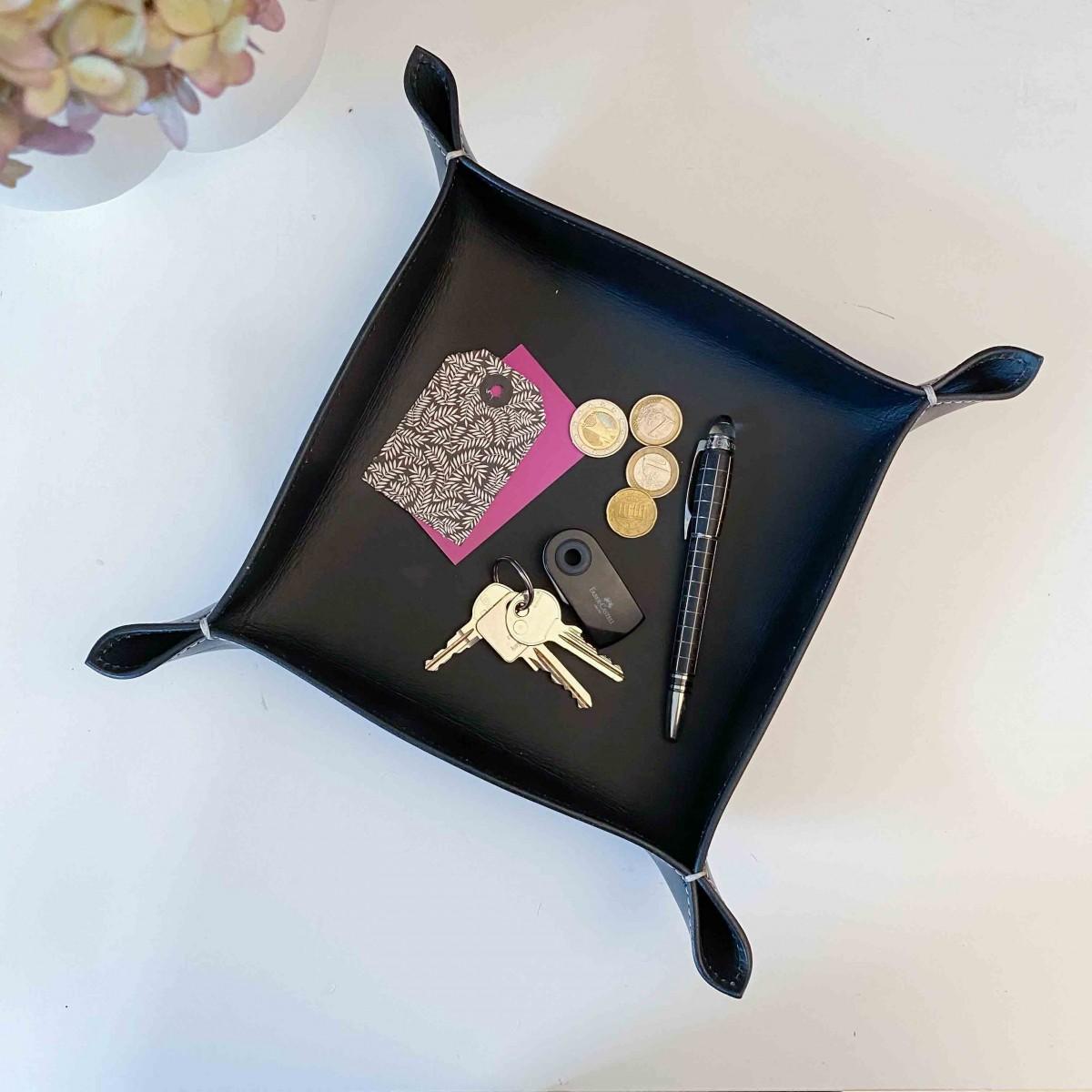 adorist - Lederschale, Taschenleerer Corium 20x20cm, schwarz