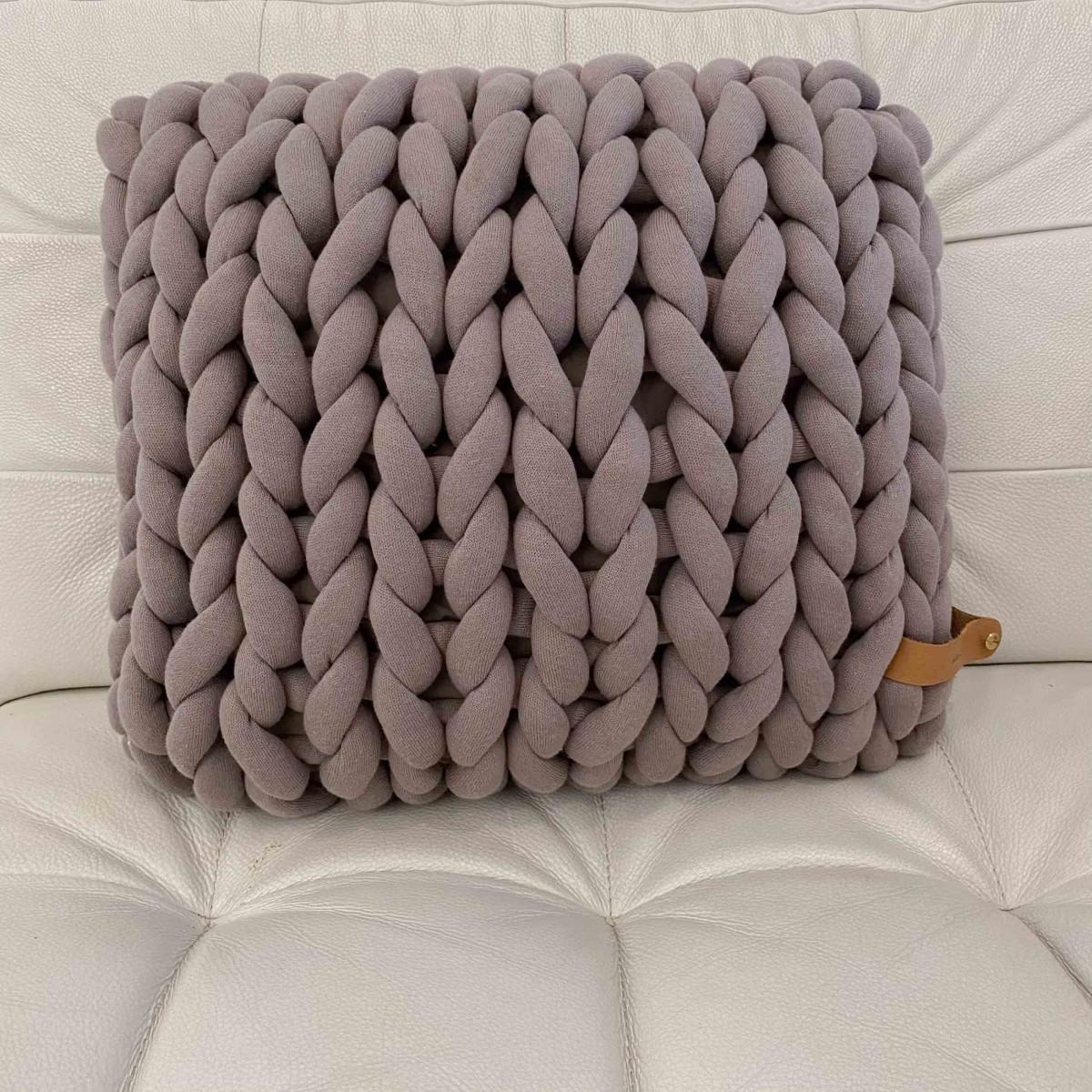 adorist - XXL Grobstrick Cotton Tube Kissen 45x40cm, taupe