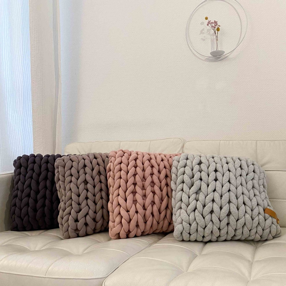 adorist - XXL Grobstrick Cotton Tube Kissen 45x40cm, dunkelgrau