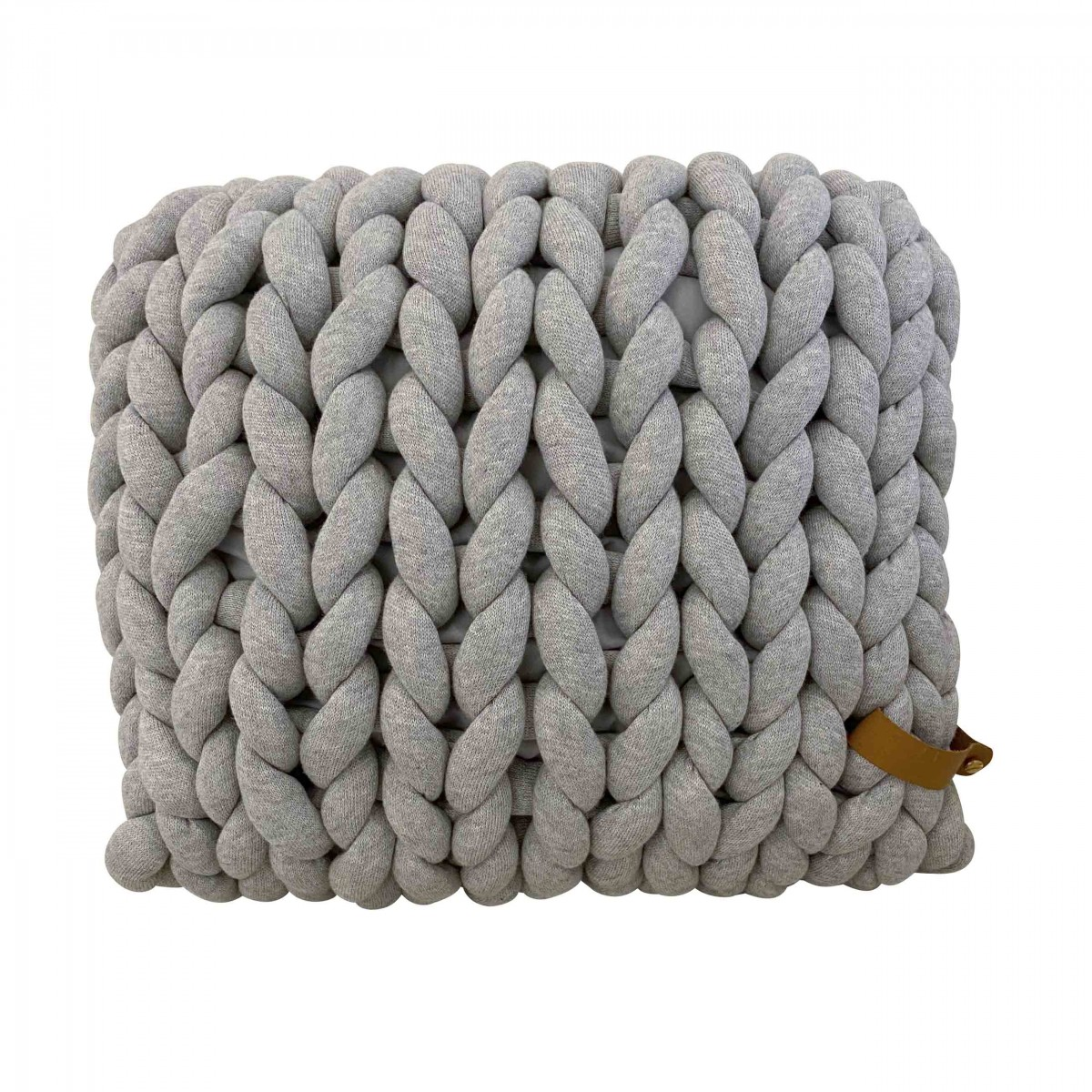 adorist - XXL Grobstrick Cotton Tube Kissen 45x40cm, hellgrau
