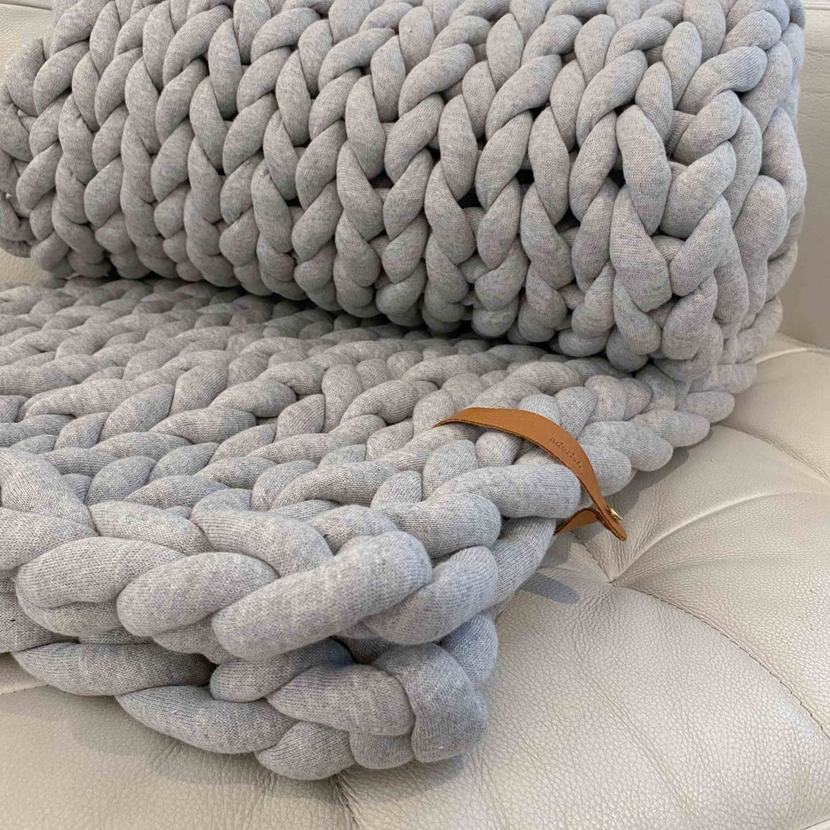 adorist. - XXL Grobstrickdecke Cotton Tube 150x100cm, hellgrau meliert