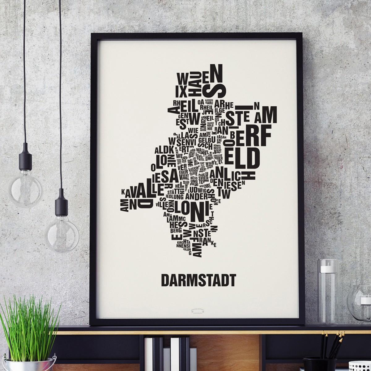 Buchstabenort Darmstadt Stadtteile-Poster Typografie Siebdruck