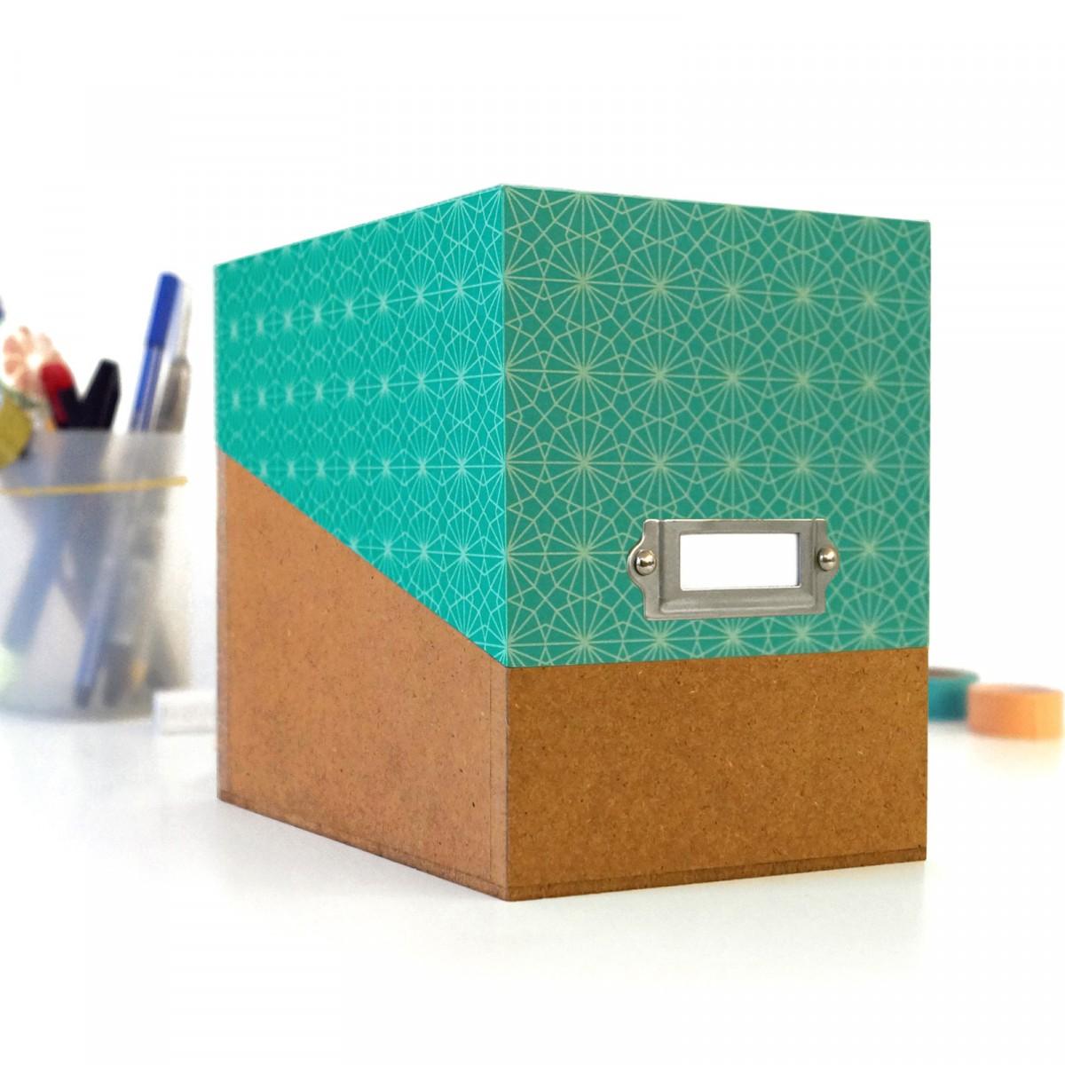 sperlingB – Box mit türkisfarbenem Deckel und Etikettenschild, Sammelbox mit Registern und Blankokarten, Kiste zum Aufbewahren